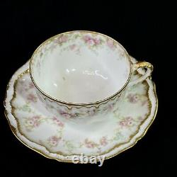 Theodore Haviland Limoges France Pink & Green Flower Double Gold Edge Cup Saucer