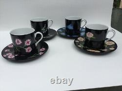 Tiffany & Co -''mrs Delany's Flowers - 4 Demitasse Cups & Saucers -