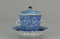 Unusual Kangxi Period Chinese Porcelain Cup Saucer Lotus Flowers Marked