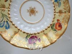 Victorian Antique 19th C Coalport Cup & Saucer Hand Painted Flowers Yellow Gold