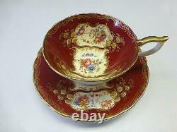 Vintage AYNSLEY Bone China PARAMOUNT Cup & Saucer 7700 Marone Red Flower GOLD