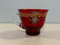 Vintage Cranberry Bohemian Glass Cup & Saucer with Enamel Floral Man at Bay Dec