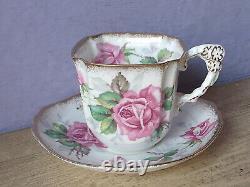 Vintage England pink rose flower handle bone china tea cup teacup and saucer