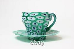 Vintage Fratelli Toso Murano Millefiori Early Cup and Saucer, 1910, Italy