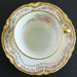 Vintage Haviland Limoges Chocolate Cup Saucer Pink/Blue Flowers Double Gold