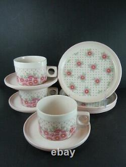 Vintage Hornsea Pottery PASSION Pink Flowers 3 Cups & Saucers Plus 3 Tea Plates