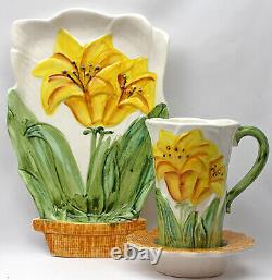 Vintage Majolica Style Flower Pot Plate Cup Saucer Set Blue Yellow Pink Lily