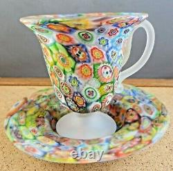 Vintage Murano Italy Millefiori Glass Tea Coffee Cup & Saucer Frosted Multicolor