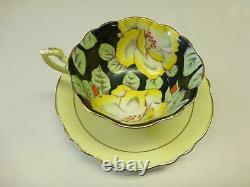 Vintage PARAGON Bone China Cup & Saucer Yellow Gardenia Flower Art Deco Chintz
