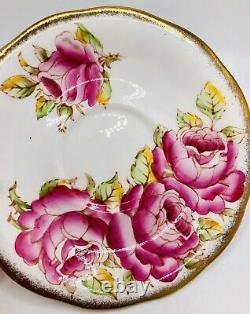 Vintage Queen Anne Tea Cup & Saucer Set Huge Pink Cabbage Roses Heavy Gold