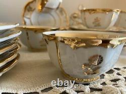 Vintage Rosenthal Teapot Set Cups Saucers Dessert Plates Germany Gold Flowers