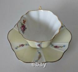 Vintage Royal Stuart Teacup and Saucer Yellow Flower Pansy Handle