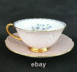 Vintage SHELLEY Pink OLEANDER Shape Cup & Saucer with BLUE ROCK Flowers & Gold