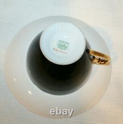 Vintage Shelley Black Cup Saucer & Flowers Gold Trim Fine Bone China