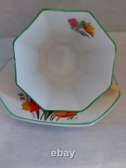 Vintage Tea Cup And Saucer Melba Bone China Yellow Flower Handle