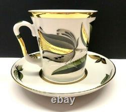 Vtg Big Rare Tea Cup&Saucer Black Flower Russian porcelain Lomonosov LFZ