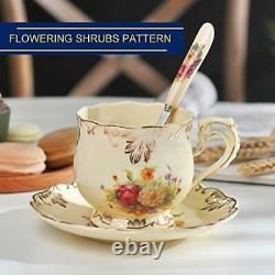 YOLIFE Flowering Shrubs Pattern Ivory Ceramic Tea Cups and Saucers Set, Vintage